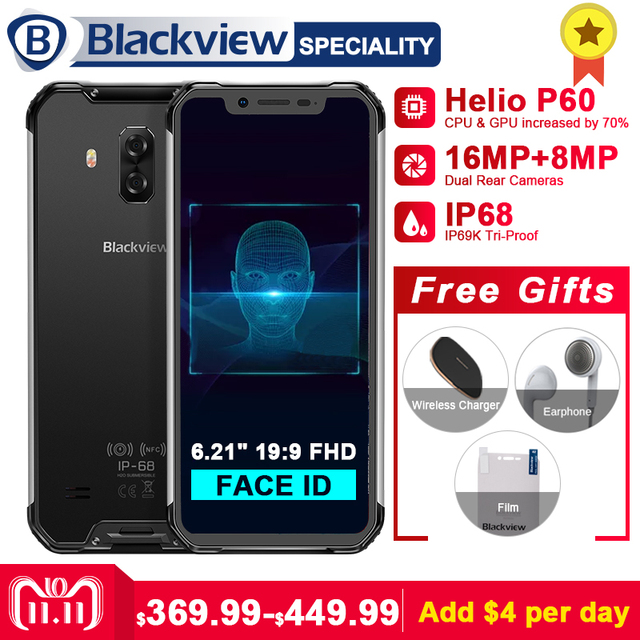 """Blackview BV9600 Pro Helio P60 6GB+128GB IP68 Waterproof Mobile Phone 6.21"""" 19:9 FHD AMOLED 5580mAh Android 8.1 Smartphone NFC"""