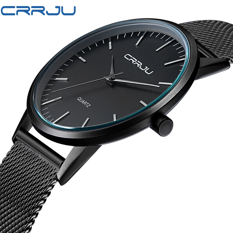 цена на Fashion Men Wrist Watch Ultra Thin Simple Quartz Wristwatch Stainless Steel Mesh Strap Clock Male Relogio Masculino Hodinky 46