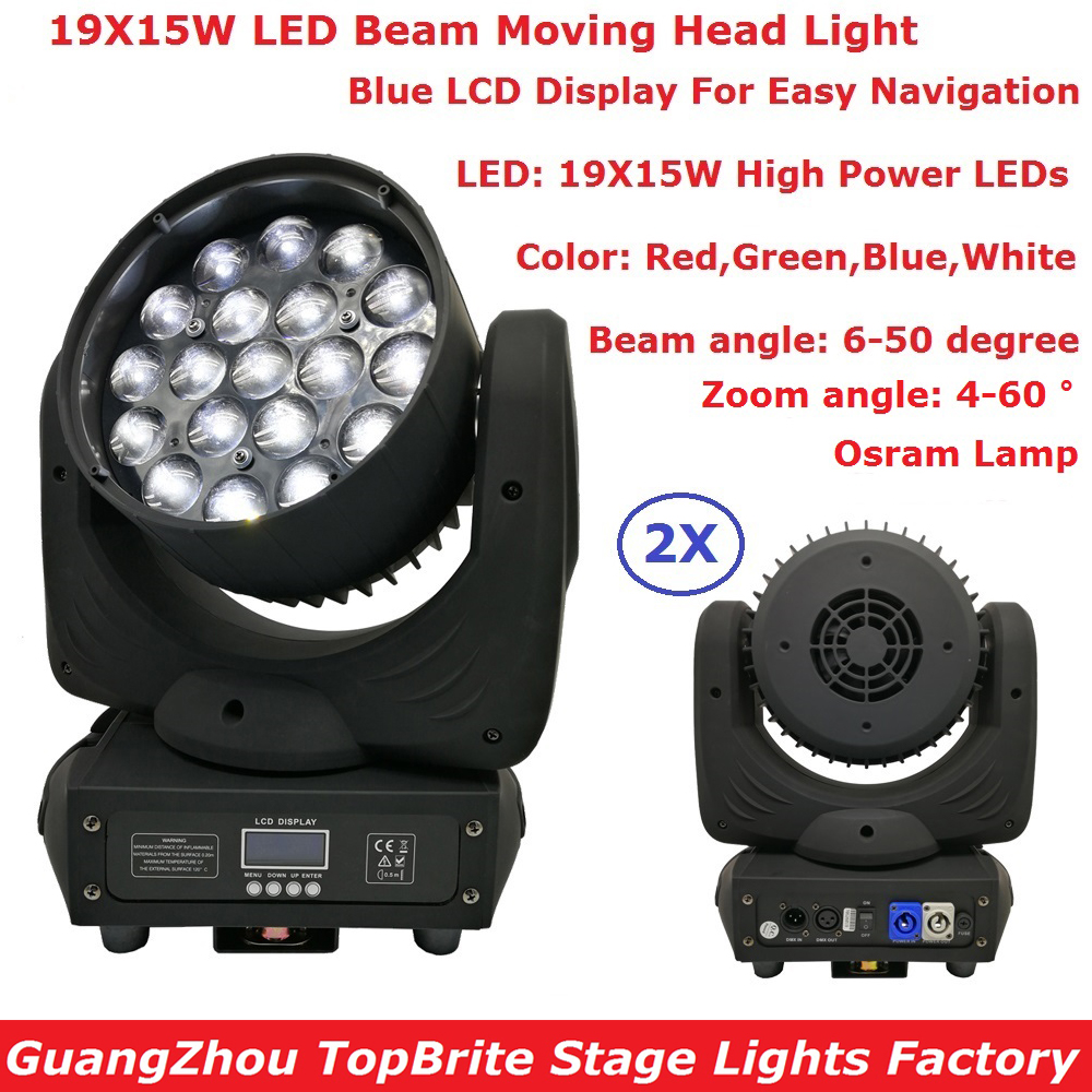 2IN1 Carton Package 19X15W RGBW Quad Color LED Moving Head Veam Lights With Zoom Function For Indoor Christmas Holiday Projector