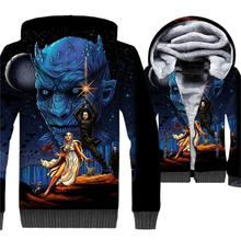 Men Clothing 2019 3D Movie Print Sweatshirts Harajuku Winter Thick Jacket For Fashion Hot Game Of Thrones Zipper Hoodie Coat