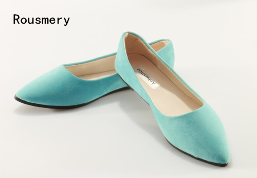 Rousmery Autumn New 2017 Girls Sky Blue Pointed Toe Pu Suede Flat Slip On  Casual Flats Comfortable Shoes