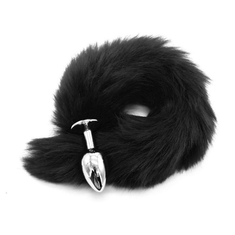 Faux Fox Tail Butt Plug <font><b>Stainless</b></font> <font><b>Steel</b></font> Metal Plug <font><b>Anal</b></font> <font><b>Sex</b></font> <font><b>Toys</b></font> For Women Couples <font><b>Adult</b></font> Games <font><b>Sex</b></font> Products Erotic Role Play <font><b>Toy</b></font> image