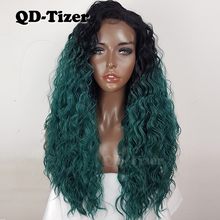 QD-Tizer Green Color Hair Synthetic Lace Front Wigs Loose Curly Ombre Wigs Green Hair Wig with Baby Hair Heat Resistant