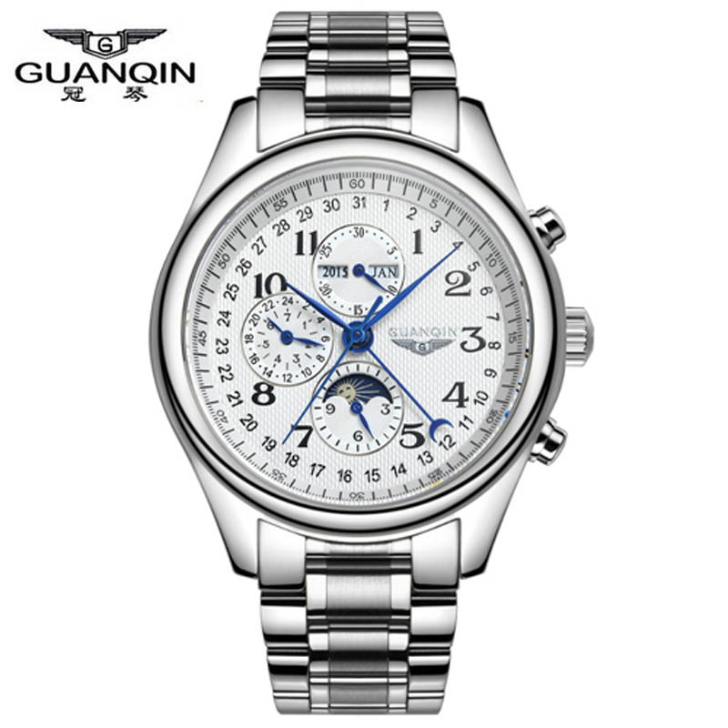 ФОТО GUANQIN Watches Men Luxury Brand Automatic Mechanical Watch Waterproof Perpetual Calendar Leather Wristwatch relogio masculino