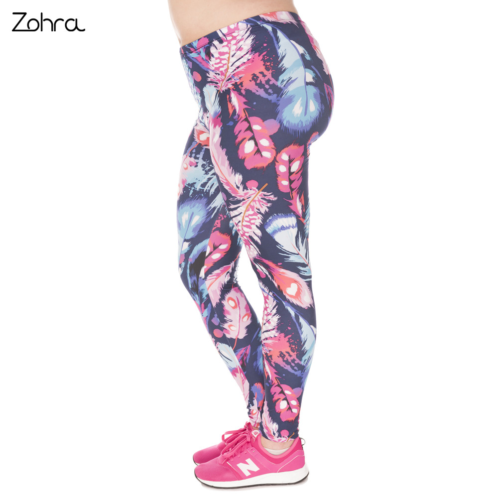 Zohra High Quality Large Size   Leggings   Feathers Color Printed Leggins Plus Size Trousers Stretch Pants For Plump Wome