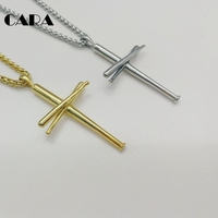 CARA Gold Color Baseball Bat Cross Necklace 316L Stainless Steel Cross Necklace Fashion Gym Sport Biker