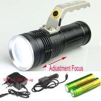 Zoomable CREE LED 1800Lm Wiederaufladbare Taschenlampe Ladegerät Tragbare Licht hand lampe + 2x18650 + chargr