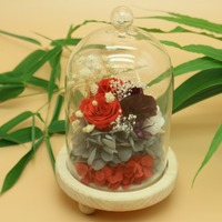 Preserved Hydrangea Red In Glass Vase Cloche Wedding Decorations Eternal Flower