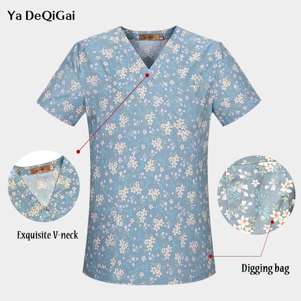 Unisex Medical Scrubs Nursing Uniform Dentistry Pet Doctor Workwear Surgical Top+cap+mask Men And Women Pharmacy Work Clothing