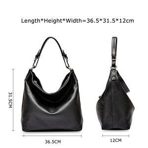 Image 4 - Женская Повседневная Сумка тоут Zency из 100% натуральной кожи, черная модная женская сумка мессенджер через плечо, элегантная сумка на плечо