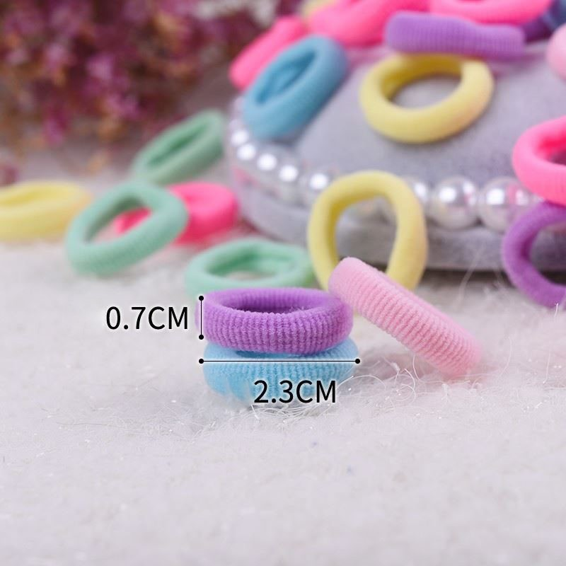 Pack Of 100 Small Terry Candy color Not entangled hair Elastic Tiny Ponytail Hair Band Holder Ties Mix Colors