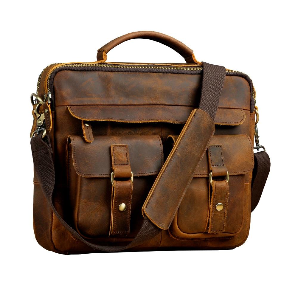 Le'aokuu Для мужчин из натуральной кожи под старину Стиль Кофе Портфели Бизнес 13 ноутбук атташе Курьерские сумки портфель B207