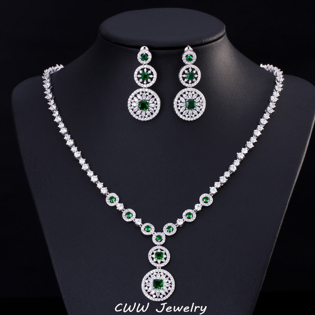 Top Quality Swiss Cubic Zirconia Round Drop Hollow Out Flower Dinner Party Jewelry Sets With Green Amerald Crystal T236
