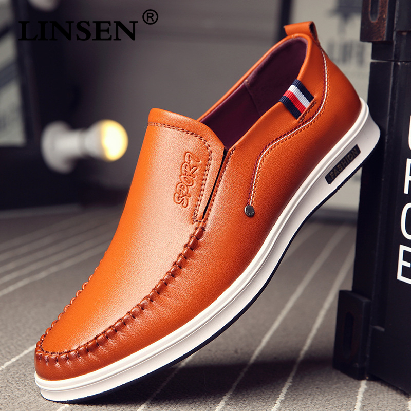 2019 Autumn Men Genuine Leather Flat Business Casual Shoes Classic Official Loafers Soft Moccasins Male Breathable Driving Shoes