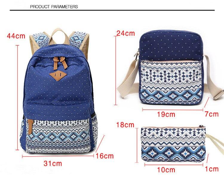 Dot Canvas Printing Backpack Women School Back Bags For Teenage Girls Cute Black Set Travel Backpacks Female Bagpack Rucksack #6