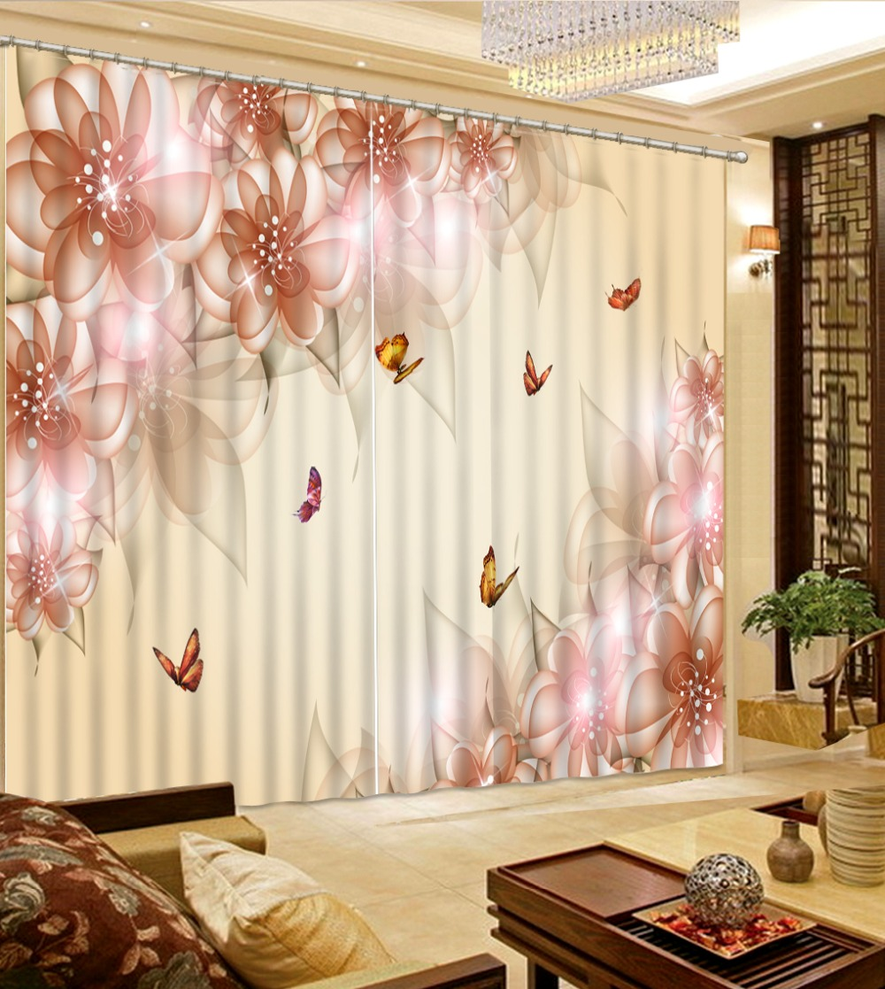 Beautiful 3D Blackout Curtain For Living Room Elegant New Dream Pink Flower  Home Decor Window Drapes