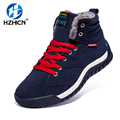 HZHICN Men Shoes Fashion Breathable Leather Shoes Mens Ankle Black Spring Shoes Lace Up Flat Fashion Casual Shoes Botas Mujer