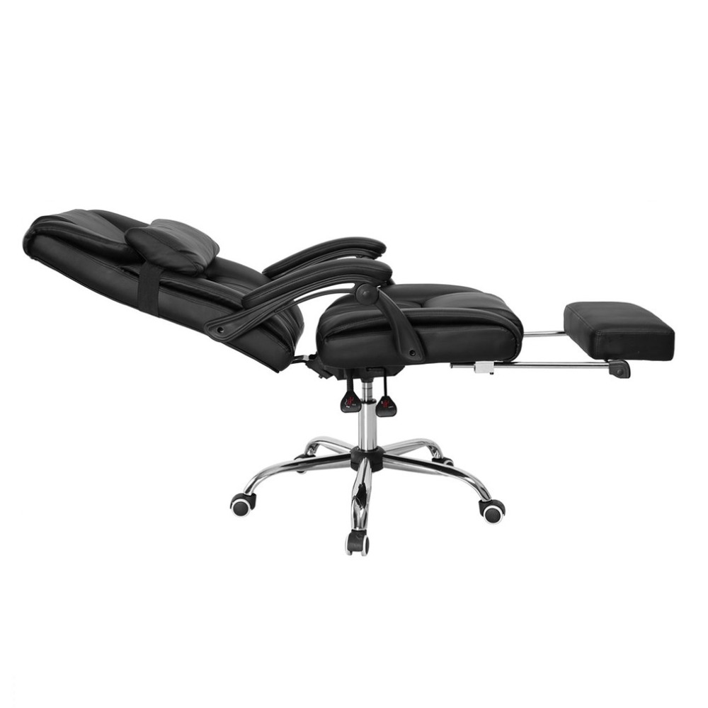 Collapsible Pedal Chair Reclining High Back Faux Leather Swivel Footrest Executive Office Computer Ergonomical Design Chair home office computer desk massage chair with footrest reclining executive ergonomic vibrating office chair furniture