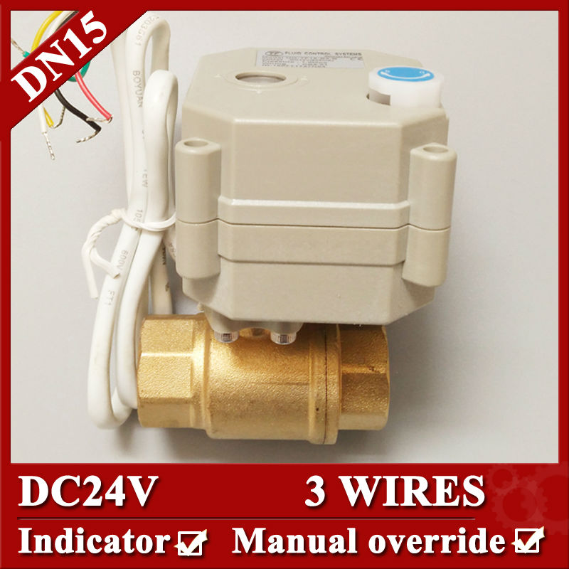ФОТО 1/2'' DC24V two way electric ball valve, 3 wires control DN15 brass motorized water valve with manual override and indicator