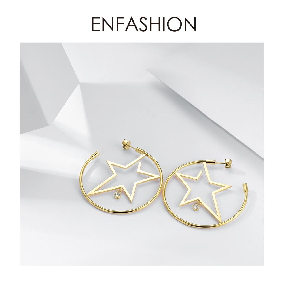 Image 3 - Enfashion スターフープイヤリングゴールド色出穂ステンレス鋼ビッグフープイヤリング女性のファッションジュエリー卸売 ED181079フープイヤリング   -