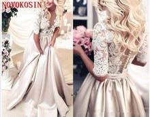 Champagne Wedding Dress With Pockets A-Line Lace Applique Satin Half Sleeves Deep V Neck See though vestido de novia Bridal Gown