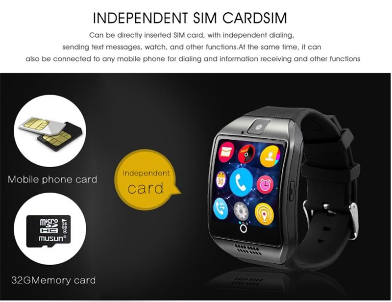 MOCRUX Q18 Passometer Smart watch with Touch Screen camera Support TF card Bluetooth smartwatch for Android IOS Phone 14