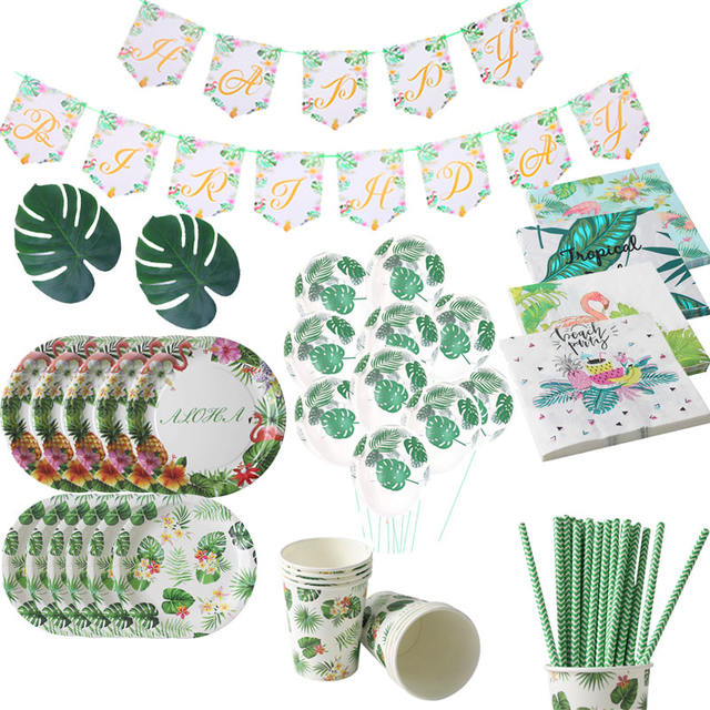Happy Birthday Party Tropical Party Banner & Aloha Disposable Tableware