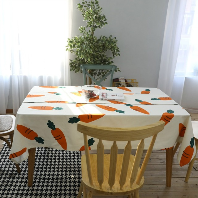 Rectangular tablecloths cartoon carrots printed cotton table cover rectangular tablecloths cartoon carrots printed cotton table cover american style practical household dining kitchen table cloth workwithnaturefo