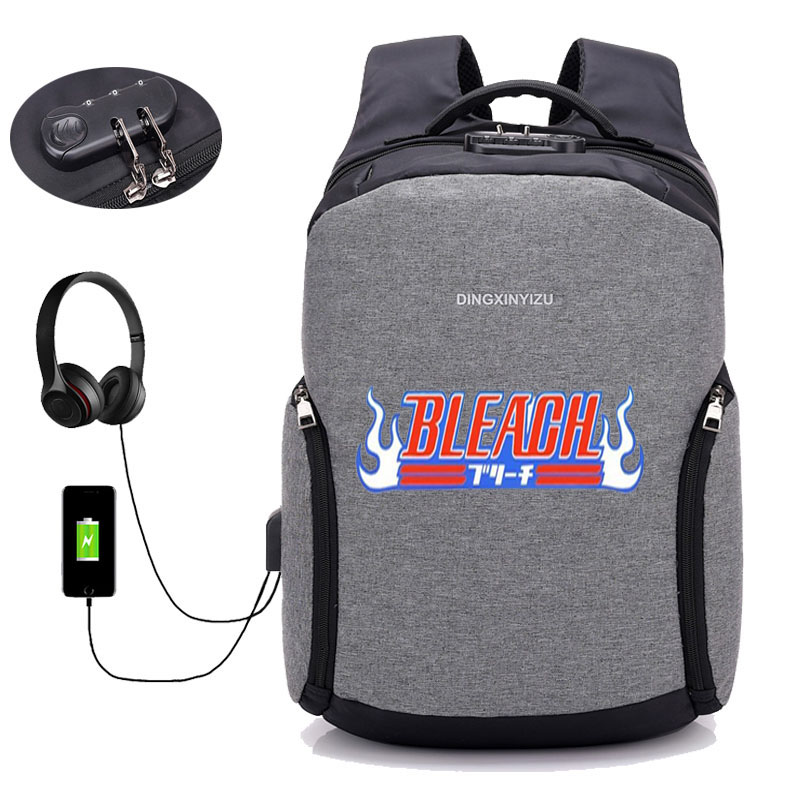 anime bleach Backpack 16 inch Men Laptop Backpacks Multifunction USB Charge Computer Backpacks Anti theft Backpack 10 style in Backpacks from Luggage Bags