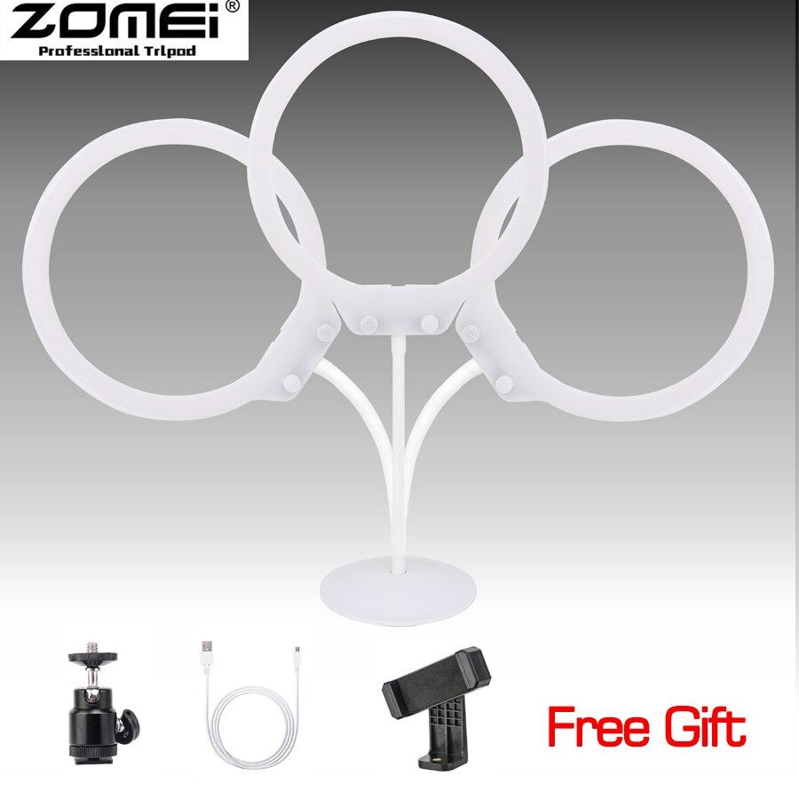 Zomei ZM-128 Photo Studio téléphone vidéo 58 W 128 pièces bureau table LED anneau lumière 5500 K photographie Dimmable maquillage anneau lampe