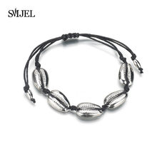 SMJEL Cowrie Gold Shell Bracelet femme Adjustable boho Macrame friendship Real Seashell Rope chain Bracelet Mothers Day Gift(China)