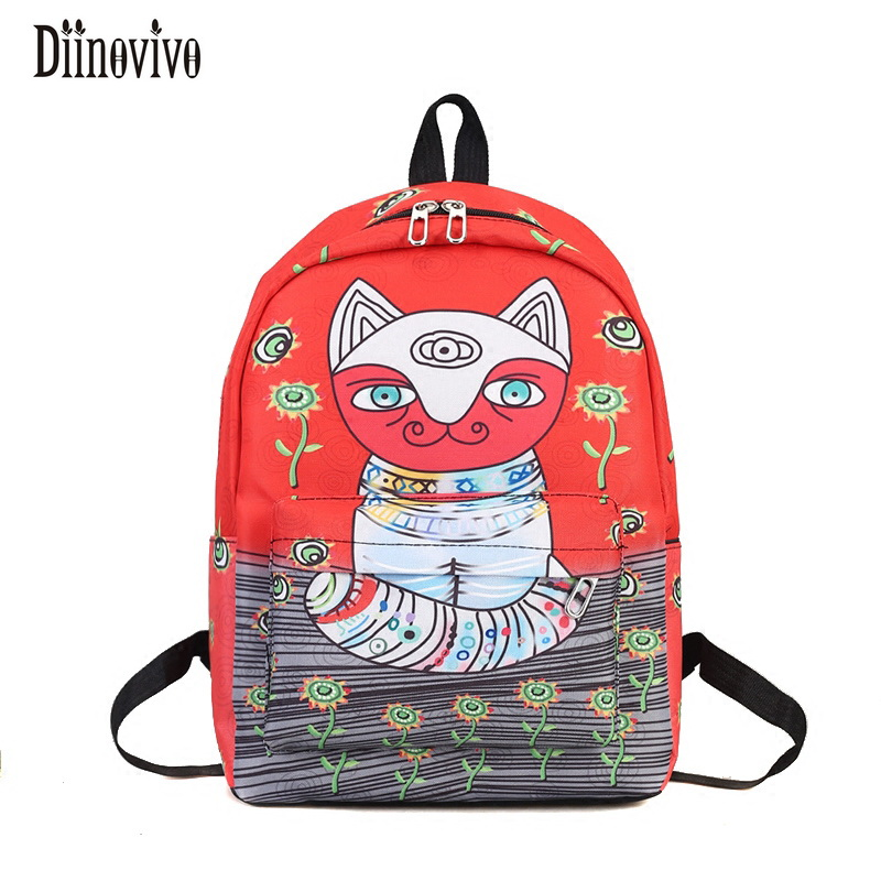 DIINOVIVO Cute Cat Canvas Backpack Cartoon Mochila Escolar For Teenage Girls Casual Printing Rucksack Mochila Women Bags DNV0045 children school bag minecraft cartoon backpack pupils printing school bags hot game backpacks for boys and girls mochila escolar