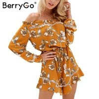 BerryGo Off Shoulder Floral Print Women Jumpsuit Romper Summer Elegant Hollow Out Ruffle Playsuit 2017 Boho