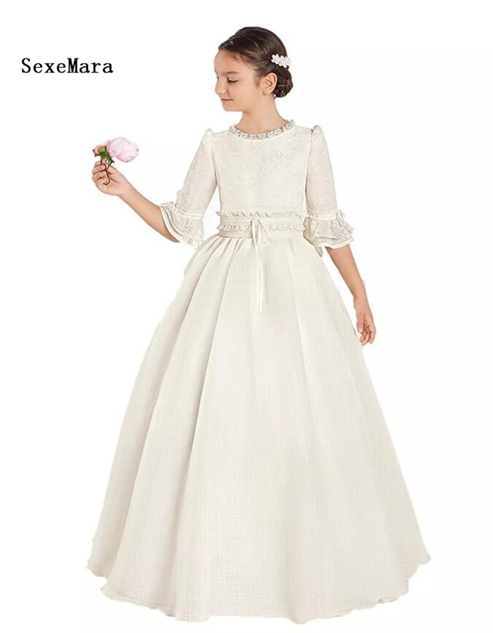 Princess Lace Ivory White Flower Girls Dresses Girl Pageant Party Dress Floor Length First Communion Dress Kids Formal Wear floor length plus size lace formal dress