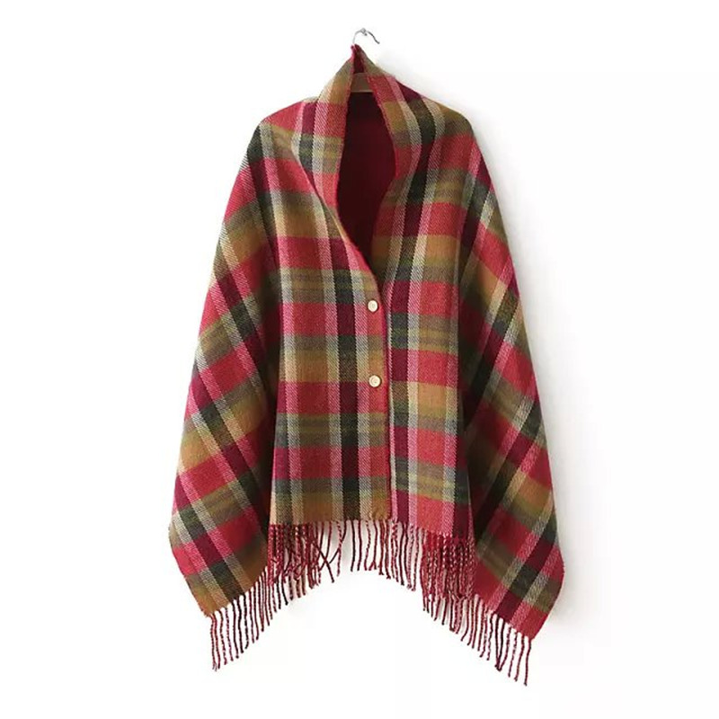 Dudar Womens Plaid patrón Invierno Caliente bufandas con borlas 2017  señoras Niñas Cachemira feel shawl con botón Navidad regalos f10d44ab883e
