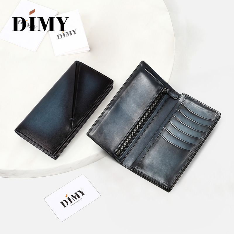 Dimy Genuine Leather Wallet Male Vintage Purses Credit Card Coin Card Holder Clip For Men Long Wallets Brand Luxury Slim ID Card