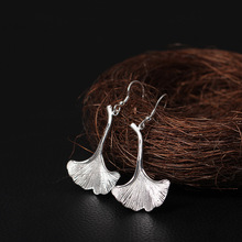 Flyleaf 925 Sterling Silver Ginkgo Leaves Long Drop Earrings For Women High Quality Fashion Lady Gift Sterling-silver-jewelry