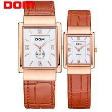 DOM Лидирующий бренд кварцевые часы для любителей деловые кожаные пару часов Роскошные водонепроницаемые стиль reloj квадратные часы M-289 + G-1089
