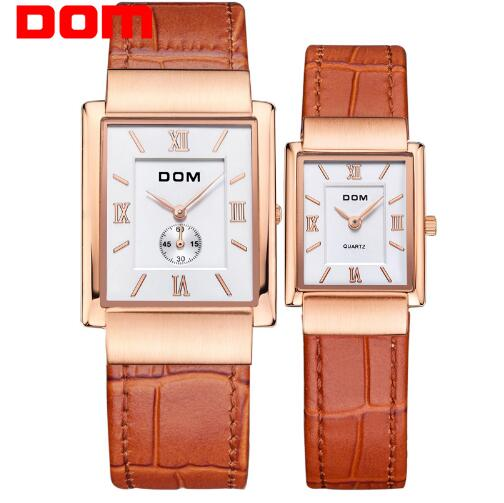 DOM top brand quartz watch for lovers business leather couple watches luxury waterproof style reloj Square clock M-289+G-1089