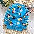 2016 Младенческой теплый свитер младенца мальчики девочки весна осень повседневная свитер малышей мультфильм кардиган плюс толстый бархат свитер
