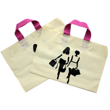 Mango de plástico Bolsa de Regalo de Compras de Las Mujeres Camiseta de La Manera Del Paquete Bolsas de Dulces de la Boda Amarillo de Fondo de Color Rosa