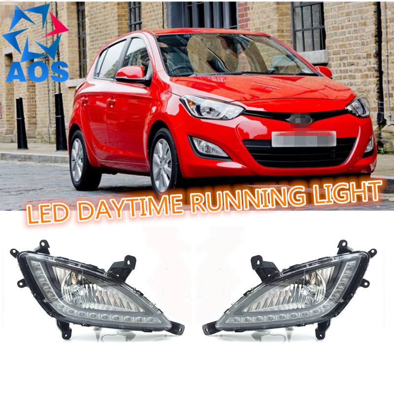 2PCs/set 12V 6000K DRL LED Daylight waterproof Car Daytime Running lamp For Hyundai I20 2012 2013 2014  набор инструмента hyundai k 20