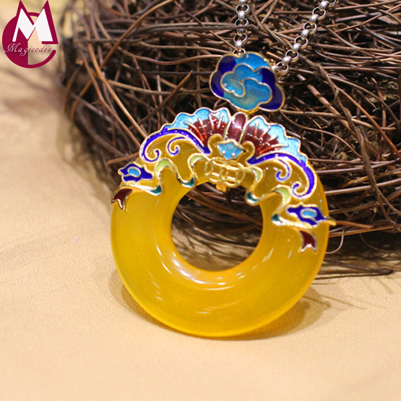 100% 925 Sterling Silver Necklace Pendant For Women Round Yellow Chalcedony Jade Pendant Enamel Fine Flower Mother Jewelry SP43