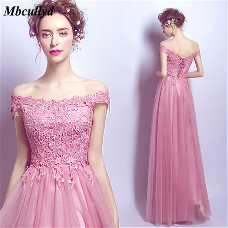Mbcullyd Sexy Off Shoulder Tulle Bridesmaid Dresses Long Elegant Dress Women For Wedding Party Applique Lace Vestido Longo 2018