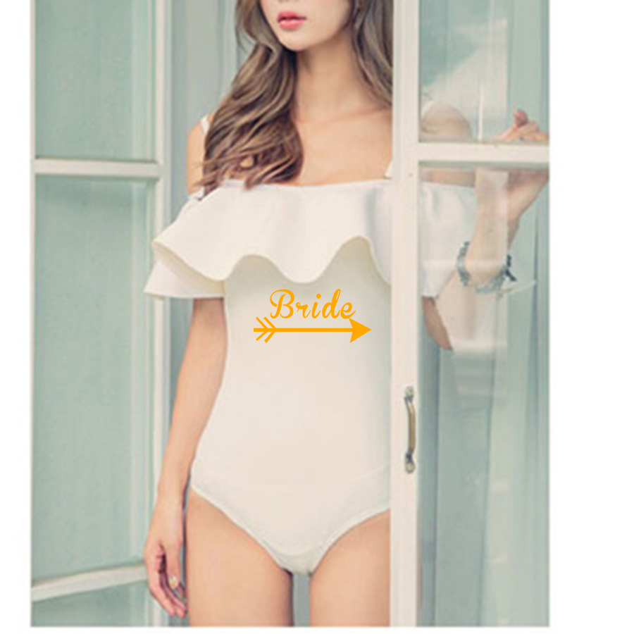 """בגד ים שלם עם כיתוב מוזהב """"Bride (""""כלה"""") מושלם עבור מסיבת רווקות"""