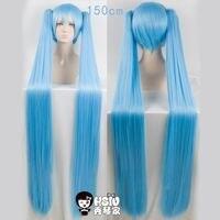 HSIU High Quality 150cm Long Aquamarine Wig VOCALOID Cosplay Wig Hatsune Miku Costume Play Wigs Halloween