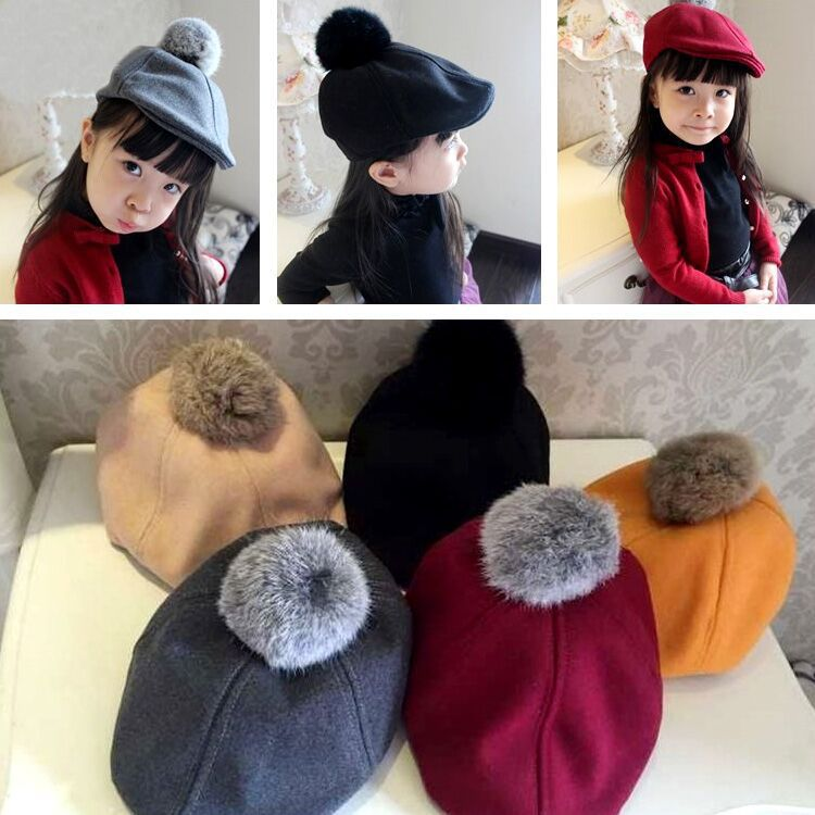 Autumn Winter Outdoor Simple Cotton Hat Baby Cap Kid Beret Hat For Girl Warm Cap For Boy Hat Children Soft Warm Beret Cap [flb] wholesale brand hat cap warm thickened cotton baseball cap bone snapback dad cap women knitted hat fitted hats for men