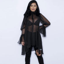 Sexy Sheer Chiffon Blouse Shirts Women Long Sleeve Patchwork Blusas Feminino Novelty Cover Ups Plus Size Women's Shirt Long Tops(China)