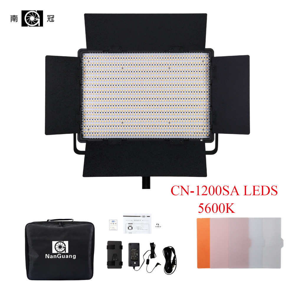 Nanguang CN-1200SA LEDS 5600K 10300 Lux LED Video Studio Light Panel for Camera Video + V Lock Battery Mount Extreme CRI RA 95 цена 2017