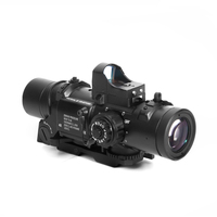 Tactical Hunting Scope 1 4x Prism Scope Fixed Dual Purpose Scope With Mini Red Dot Scope RMR Optical Sight Collimator Sight